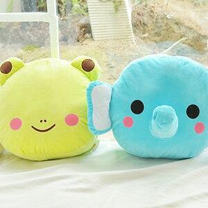 美麗大街【103110301】可愛青蛙 大象大頭造型保暖插手抱枕