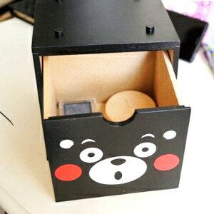 美麗大街【104020958】日本吉祥物熊本熊 KUMAMON大頭小物桌面木製積木收納箱