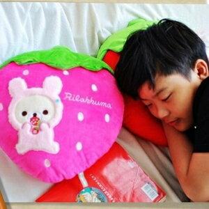 美麗大街【104040118】拉拉熊頭型抱枕 懶懶熊 草莓  抱枕 枕頭 12吋