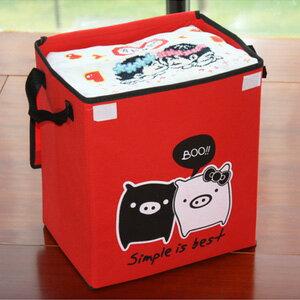 美麗大街【BFD19E3E14EK91】可愛黑白豬圖案掀蓋雙提把衣服雜物整理收納箱(中號)