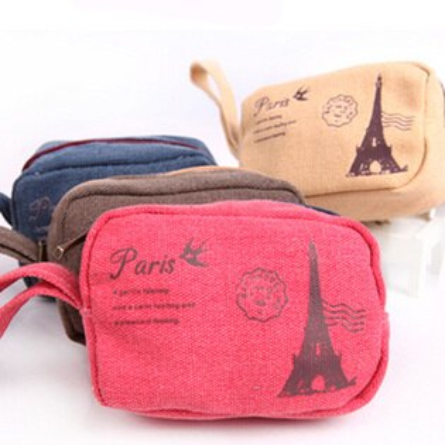 美麗大街【BFL01E4E17】巴黎鐵塔復古經典懷舊棉麻小零錢包