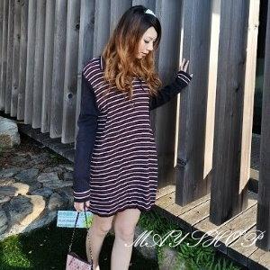 美麗大街【UF010406】甜美條紋幾何娃娃裝/大尺碼洋裝/孕婦裝/長袖洋裝(隨機出貨)