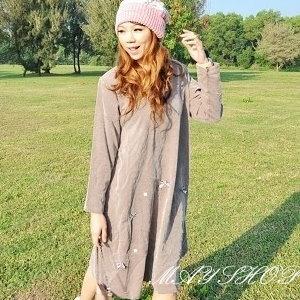 美麗大街【UF010425】甜美條紋幾何娃娃裝/大尺碼洋裝/孕婦裝/長袖洋裝(隨機出貨)