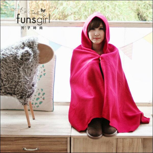 保暖 小物 毛料連帽披肩斗篷~3色^~funsgirl芳子 ~B190889~