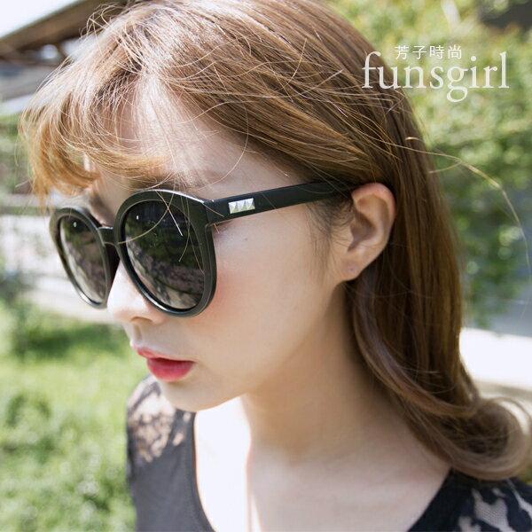 抗UV400韓國流行修飾大圓框反光墨鏡太陽眼鏡3色~funsgirl芳子時尚【B210116】