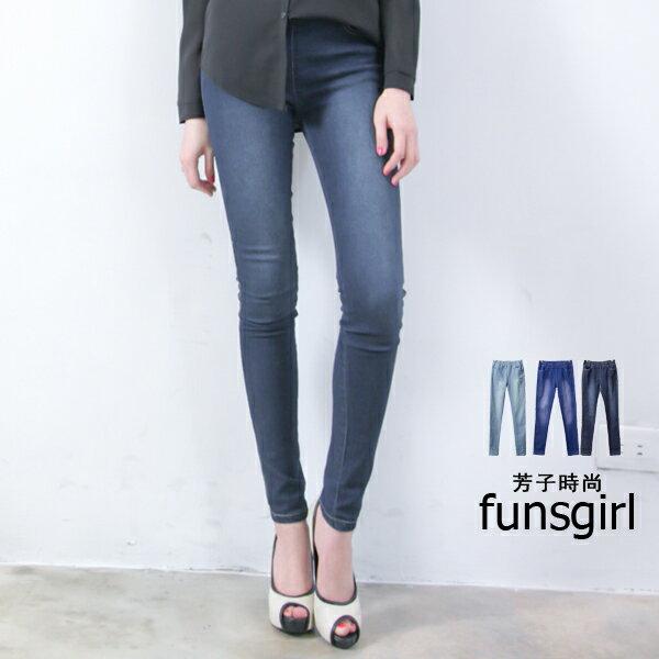 funsgirl芳子 ~B620070~率性素面水洗刷色鬆緊腰雙口袋牛仔長褲~^(S~XL