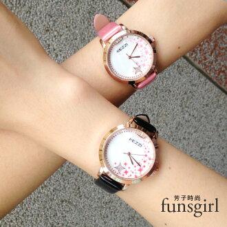 星星水鑽漆皮亮皮錶帶手錶腕錶-5色~funsgirl芳子時尚【B230032】