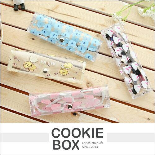 水果 小熊 透明 眼鏡盒 (小) 收納盒 輕巧 攜帶 眼鏡 生活 小物 *餅乾盒子*