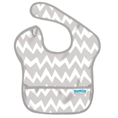 【淘氣寶寶】2016年最新 美國Bumkins防水兒童圍兜(一般無袖款6個月~2歲適用)-灰鋸齒