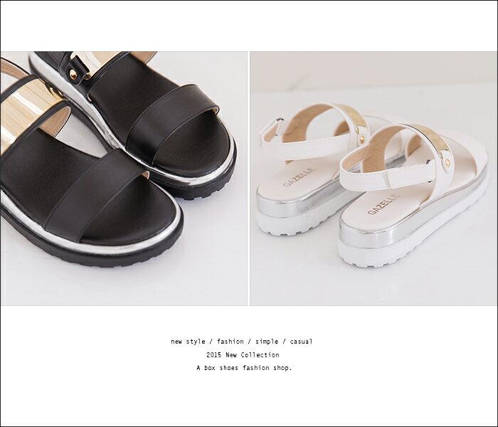 格子舖*【KP612】MIT台灣製 嚴選韓版流行 時尚金屬寬帶厚底楔型增高涼鞋 2色 2