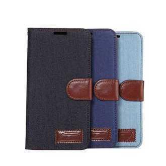 三星Galaxy Note5 保護套 牛仔布紋支架插卡皮套 N9200 側翻手機保護殼【預購】