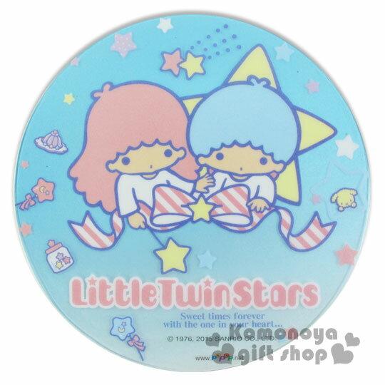 〔小禮堂〕雙子星 晶彩透明滑鼠墊《圓.藍.星星.緞帶》