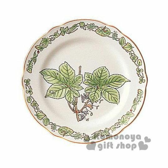 〔小禮堂〕宮崎駿 Totoro龍貓 陶瓷盤子《小.綠.楓葉.邊緣花草》Noritake精緻陶瓷