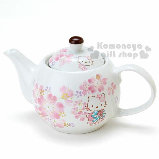 〔小禮堂〕Hello Kitty 日製陶瓷茶壺《白.櫻花.和服裝扮》日系和風