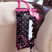 凱蒂貓週邊商品推薦到〔小禮堂〕Hello Kitty 直式面紙套《黑.桃紅大蝴蝶結》室內汽車兼用