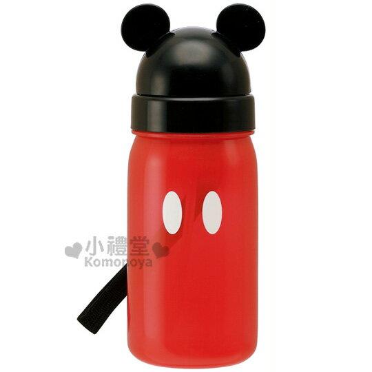 〔小禮堂〕迪士尼 米奇 彈跳吸管水壺《紅.黑蓋.大頭.350ml》超可愛造型掀蓋式開法