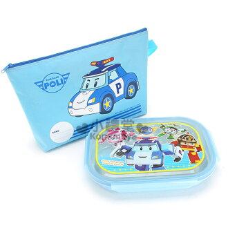 〔小禮堂韓國館〕小汽車 不鏽鋼餐盤式便當盒《藍.POLI》附專屬收納袋