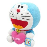小叮噹週邊商品推薦【真愛日本】12080100004 12吋坐姿拿愛心-桃 Doraemon 哆啦A夢 小叮噹 公仔娃娃 絨毛娃