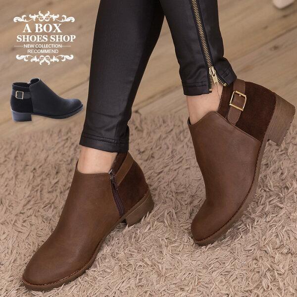 格子舖*【KW855】MIT台灣製 個性質感皮革拼接麂皮金屬素面扣環低跟小短靴 工程靴 2色