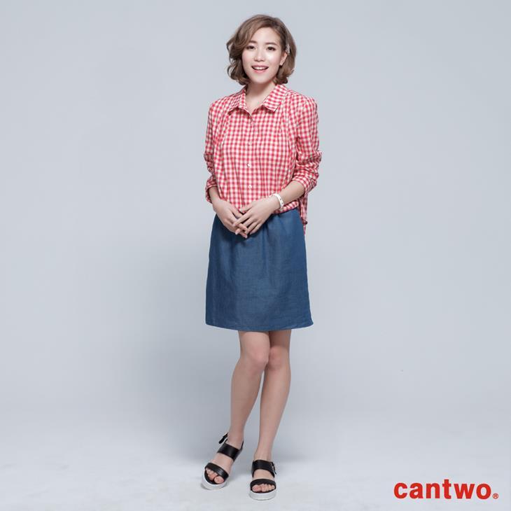 cantwo雙色格紋丹寧假兩件長袖洋裝(共三色) 0