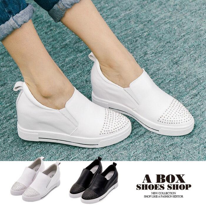 格子舖*【KF8503-9】韓國製造 質感真皮 鉚釘綴飾鞋頭 4CM內增高厚底包鞋休閒鞋 懶人鞋 2色 0