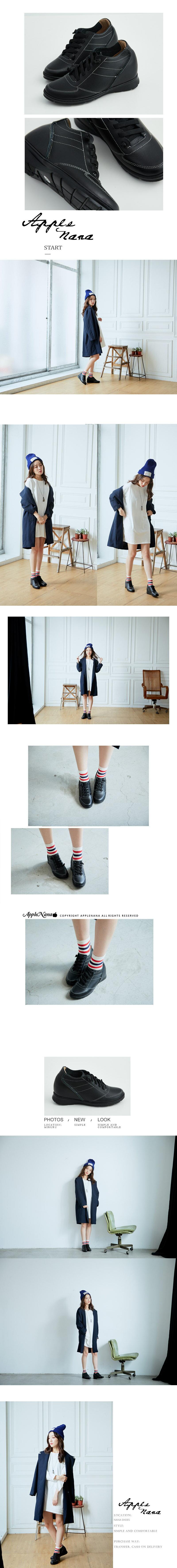 AppleNana蘋果奈奈【QT219911580】時尚部落客運動風潮隱形內增高真皮氣墊鞋 5