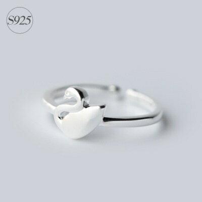 925純銀戒指開口戒~精緻磨砂天鵝 情人節生日 女飾品73dt502~ ~~米蘭 ~ ~