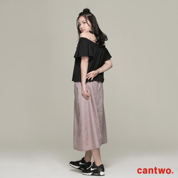 cantwo素面一字領假兩件洋裝(共二色) 3