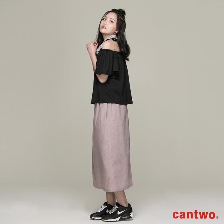 cantwo素面一字領假兩件洋裝(共二色) 2