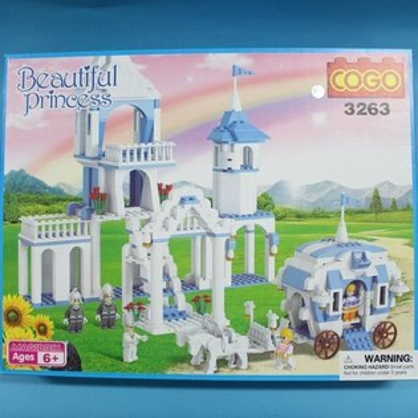 COGO積木 3263 童話公主系列-城堡公主王子馬車(藍色房子) 益智積木 約516片/一盒入{促1000}~可與樂高混拼裝~CF118818