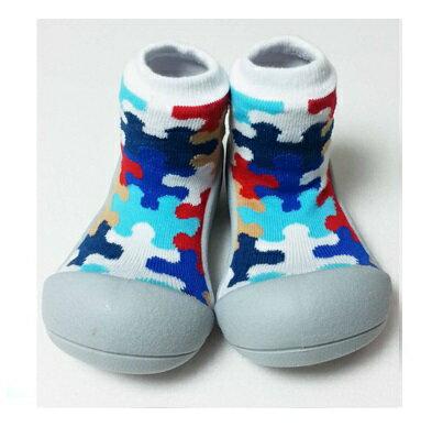 【本月特價$599】韓國【Attipas】快樂腳襪型學步鞋-灰底拼圖 - 限時優惠好康折扣