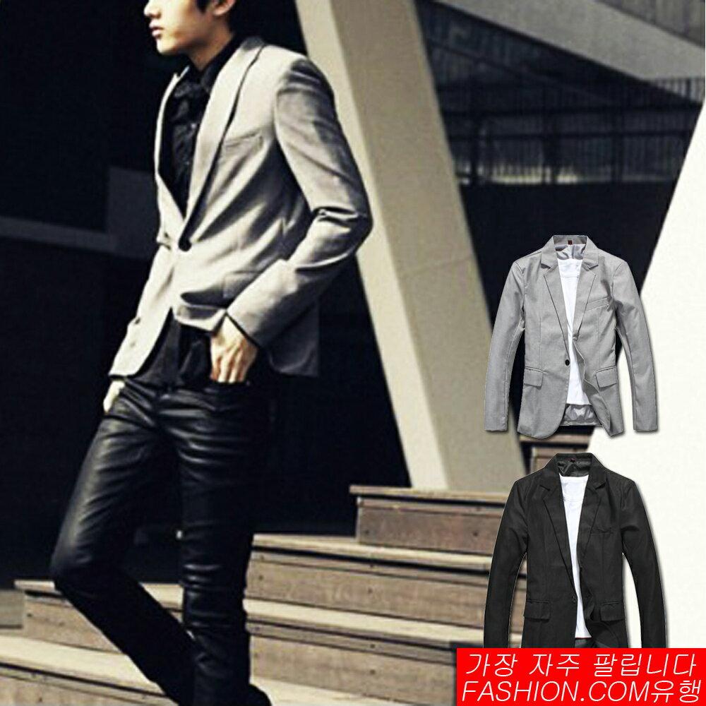 DITION 韓系腰身剪裁單釦微光澤西裝外套-共二色 0