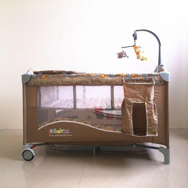 豪華遊戲床 加長遊戲床 多功能 嬰兒床 雙層床 可折疊 附置物袋 尿布台 音樂鈴
