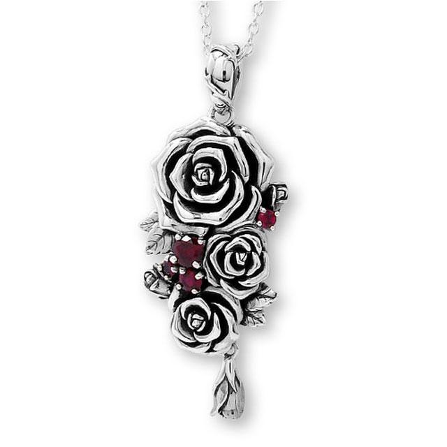 【海外訂購】【KONRON】我愛玫瑰純銀項鍊 45cm(KRP0715-Cz  03643900G2) 0