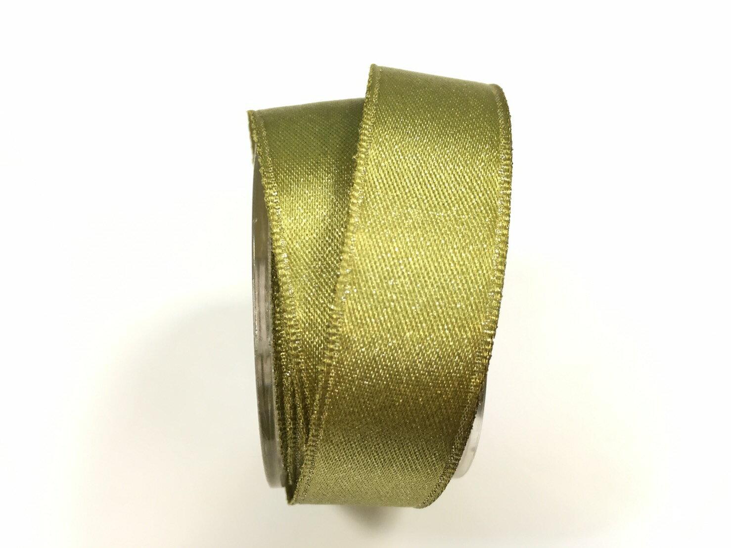 【Crystal Rose緞帶專賣店】金粉緞面鐵絲帶  3碼 (10色) 6