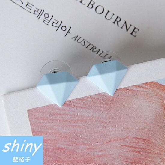 【DJJ2103】shiny藍格子-個性冰淇淋鑽石磨砂耳環