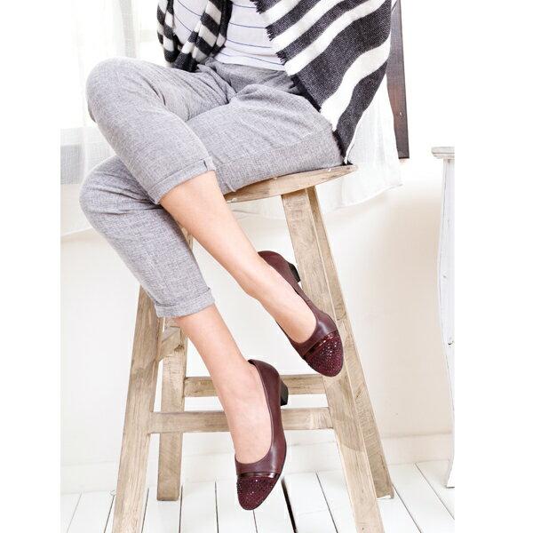 Gabor 鑽飾寬楦優雅低跟鞋 酒紅 0