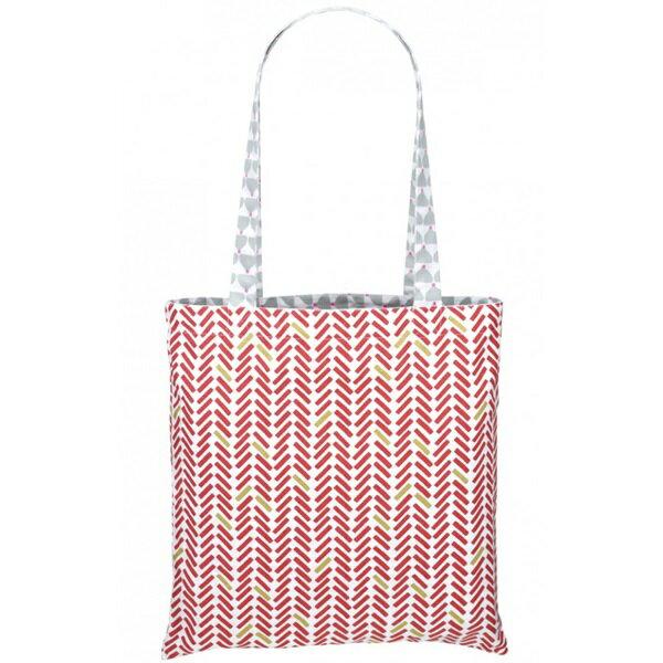 《法國 La Cocotte Paris》巴黎小散步雙面托特包/購物袋 Chic chick gris Kokette/ Chevron rouge 1
