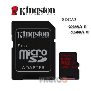 600X Kingston SDCA3  microSDXC / SD 64GB 64G  class 10 UHS-I  U3 讀90mb/S 寫80mb/s 4K 錄影 Gopro  終身保固