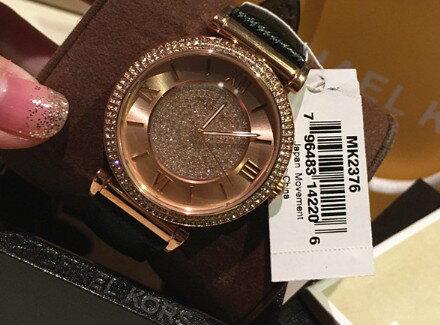 美國Outlet 正品代購 MichaelKors MK 玫瑰金鑲鑽 黑色皮帶三環計時手錶腕錶 MK2376 5