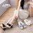 格子舖*【AWA381】卡哇伊布面牛仔蝴蝶結 繩編織設計 前4後10CM防水台楔型增高拖鞋 3色 1