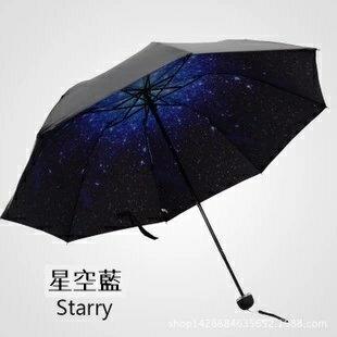 【瞎買天堂x超強防曬】全新二代小黑傘 100%不透光 可當陽曬 雨傘 折疊後好攜帶!星空【UBAAST06】