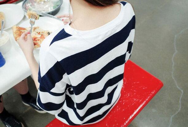 韓版長版T恤睡衣洋裝 艾爾莎 舒適寬鬆圓領短袖條紋T恤裙連身裙【TQT0035】 1