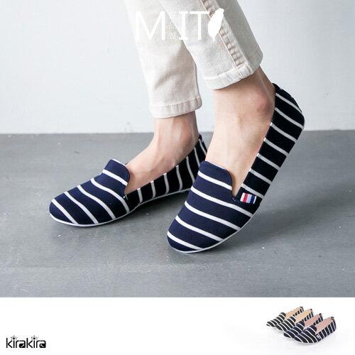 懶人鞋  SALE MIT海洋風線條平底休閒鞋 【011600057】