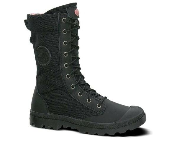 新竹皇家 法國 Palladium Pampa Tactical  黑*彩花(內裡) 防潑水 高統靴  女款 NO.I7079
