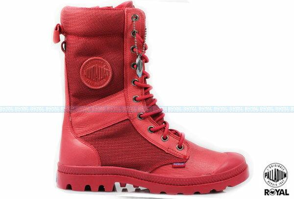 Palladium 新竹皇家 Pampa Tactical 紅色 皮質 網布 防水 戰鬥靴 女款 NO.I6152