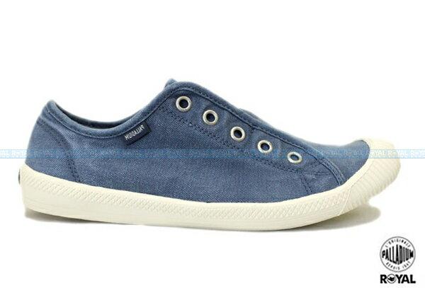 Palladium 新竹皇家 FLEX SLIP-ON 藍色 水洗布 免鞋帶 懶人鞋 低筒 女款 NO.I6753