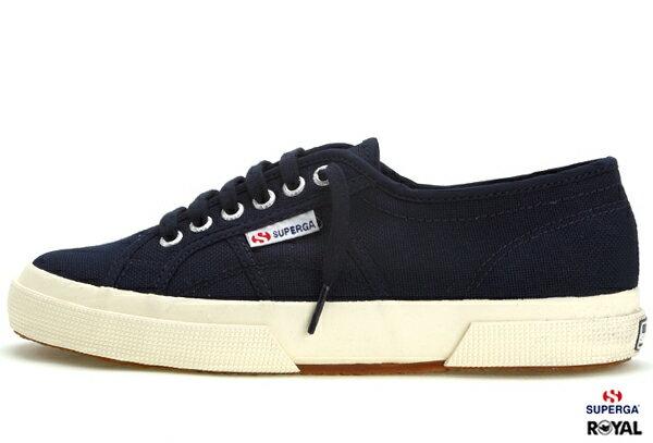 SUPERGA 義大利國民鞋 2075 新竹皇家 深藍/米黃底 帆布 百搭 男女款 NO.A5514