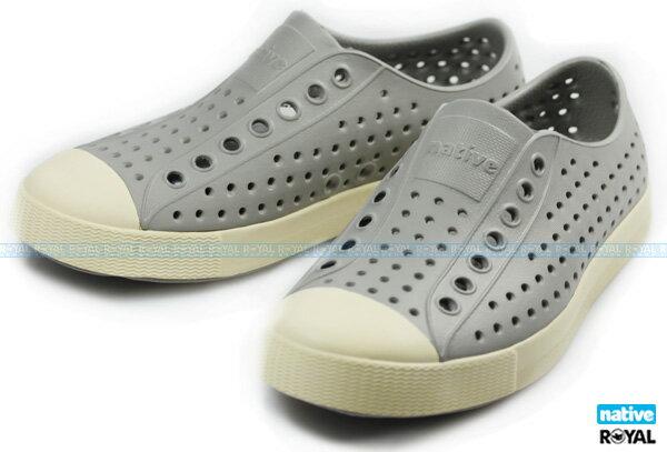 Native 新竹皇家 JEFFERSON 灰色 輕量 奶油頭 懶人鞋 男女款 NO.A6266