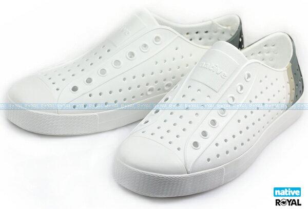 Native 新竹皇家 JEFFERSON 白色 漸層 輕量 懶人鞋 男女款 NO.A8125